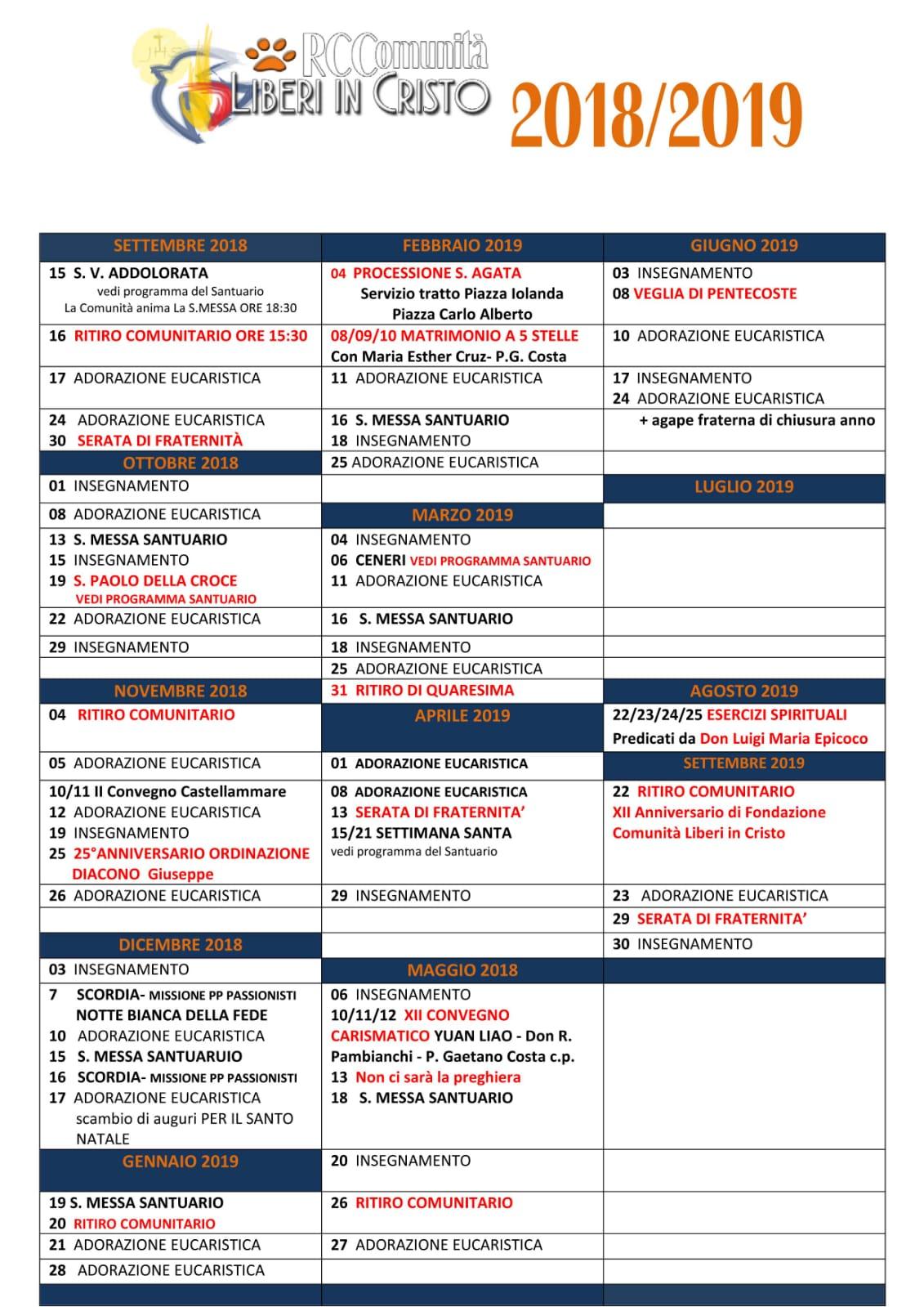 Parole Di Vita Calendario 2019.Calendario Programmazione Anno 2018 2019 Cammina Davanti A
